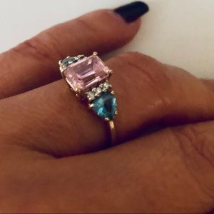 10K Gold, Pink Ice, Blue Topaz, and Diamond Ring.